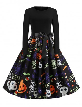 Ultimate Comfort Crew Neck Skater Dress Pumpkin Paint Casual Comfort