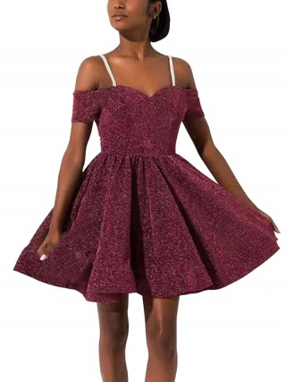 Faddish Wine Red Swing Hem A-Line Skater Dress Luscious Curvy