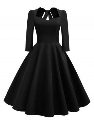 Close Fitting Black Skater Dress Back Hollow Out Swing Hem At Great Prices‎