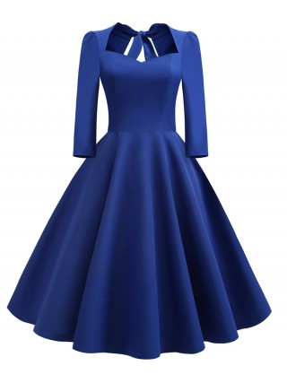 Exquisite Blue Sweetheart Neck Skater Dress Side Zip Wholesale Online