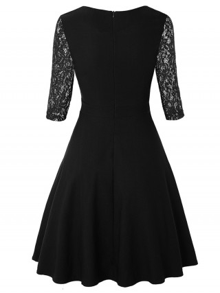 Lightweight Black Back Zipper Lace Sleeve Skater Dress Latest Fashion