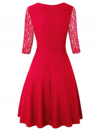 Minimalist Red Zip At Back Skater Dress Lace Sleeves For Camping
