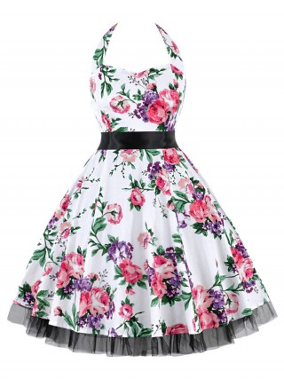 Silhouette Tie Queen Size Skater Dress Swing Hem Natural Women