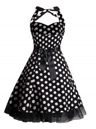 Ravishing Dot Pattern Tie Skater Dress Plus Size Natural Women
