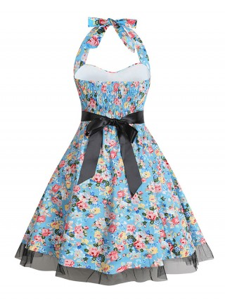 Eye-Appealing Big Size Floral Printing Skater Dress Feminine Fashion