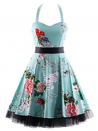 Well-Suited Flower Swing Hem Plus Size Skater Dress Form Fit