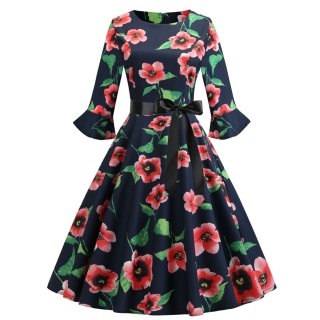 Figure-Hugging Red Waist Tie Skater Dress Flower Printed Relax Fit