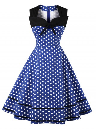 Loose Blue Bowknot Zip Skater Dress Big Size Classic Dress