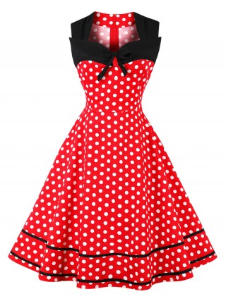 Silhouette Red Plus Size Skater Dress Polka Dot Glamor Women