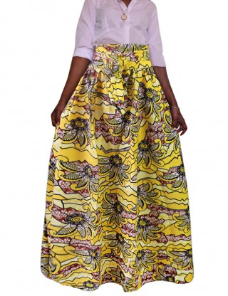 Romantic African Pleated Print Splendid Ankle Length Skirt With Belt