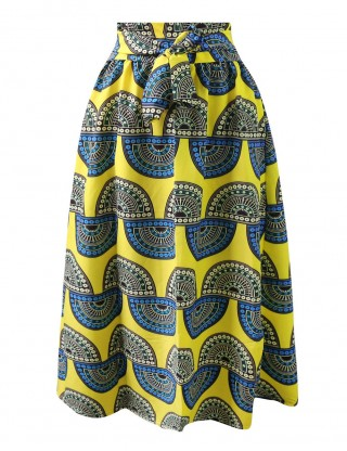 African Print Pleated Skirt Ankle Length High Waist Online Sale For Vacation