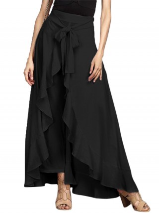 Sultry Black Flounce Hem Ankle Length Solid Color Skirt Vacation Time