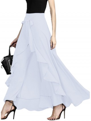 Impeccable White Ruffle Hem Solid Color Full Length Skirt Fashion
