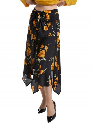 Stunning Black Irregular Hem Flower Printed Skirt Weekend Time