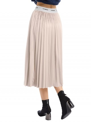 Graceful Apricot Flannelette Maxi Skirt Fitted Waist For Woman