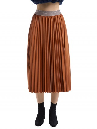 Exquisite Coffee Color Pleated Skirt Maxi Length Solid Color Fashion