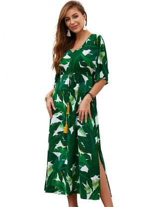 Brightly Green Leaf Print Casual Slit Summer Dress Women Outfits