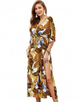 Flirtatious Earthy Yellow V-Neck High Waist Slit Summer Dress