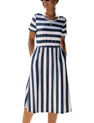 Versatile Fit Navy Blue Short-Sleeve Summer Dress Side Pocket