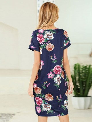 Noble Blue Summer Dress Floral Pattern V Neck Fashion Shop Online