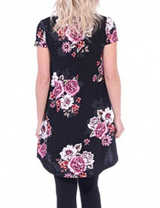 Laid-Back Black Short Sleeve Shirts Floral Printing V-Neck Slim Fit