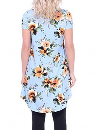 Holiday Light Blue Flower Painting Blouse Short Sleeve V-Neck