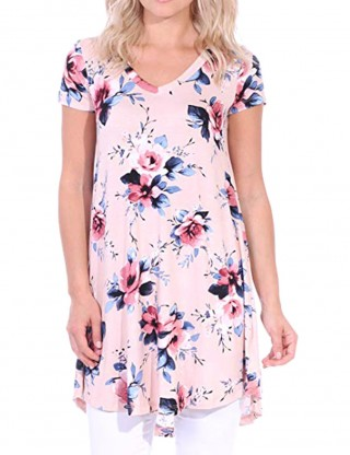 Feminine Pink V-Neck Short Sleeve Flower Printing Shirts Home Dress