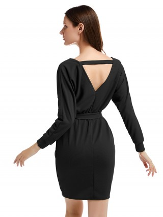 Long Sleeve Open Back Knit Black Sweater Dress