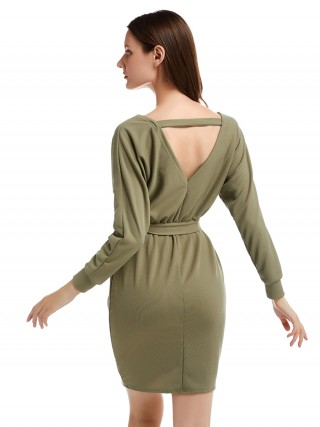 Long Sleeve Open Back Knit Green Sweater Dress