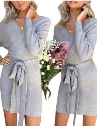 Long Sleeve Open Back Knit Gray Sweater Dress