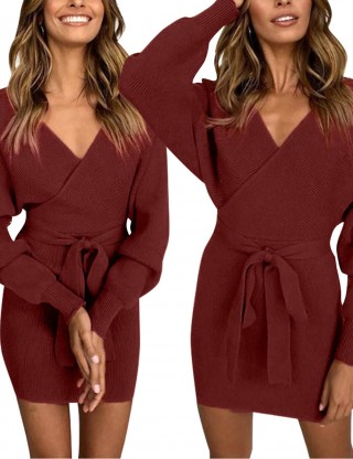 Long Sleeve Open Back Knit Sweater Dress