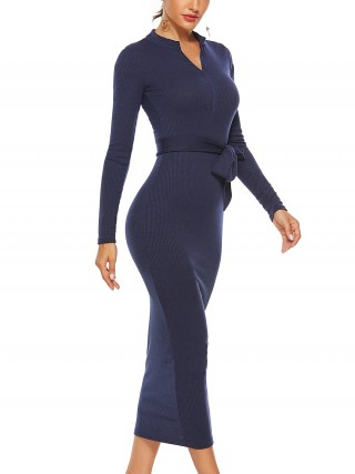 New Design Enthralling Blue Waist Tie Solid Color Knit Hip Dress Fashion