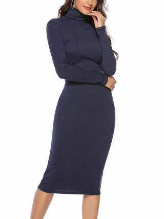 Exclusive Blue Solid Color Sweater Dress Long Sleeve Girls