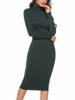 Marvellous Green Full Sleeve Sweater Dress Tight Knit Shop Online
