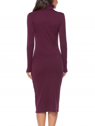 Striking Red Full Sleeve High Neck Knit Midi Dress Romance