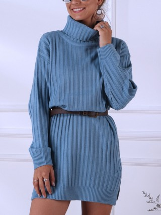 Ultra Sexy Blue High Neck Knit Sweater Dress Plain Formal Settings