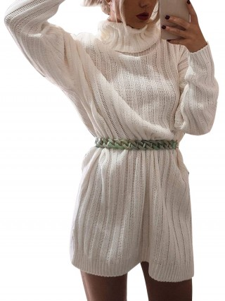Flowery White Knit Solid Color High Neck Sweater Dress Weekend Time