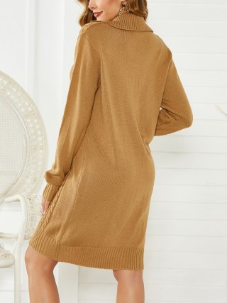 Super Sexy Khaki Sweater Dress Single Button Full Sleeve Fashion