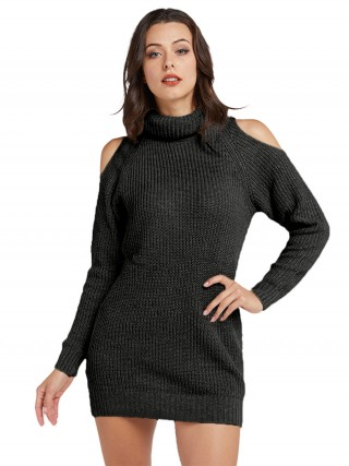 Nicely Black Solid Color Full Sleeve Sweater Dress Outdoor