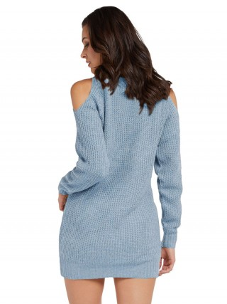 Subtle Blue Turtleneck Mini Length Sweater Dress Versatile Item