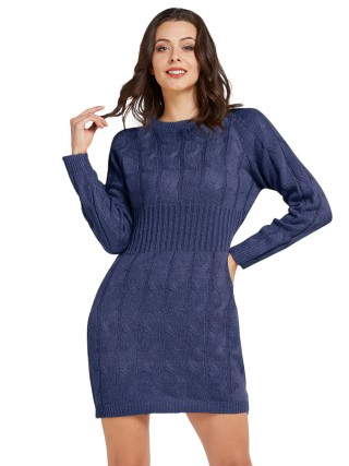 Fabulous Fit Navy Blue Mid-Thigh Length Sweater Dress Knit For Fashion