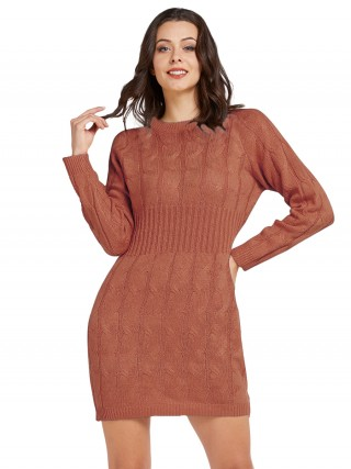 Delightful Full Sleeve Sweater Dress Solid Color For Traveling