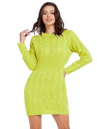 Good-Looking Round Collar Twist Sweater Dress Fashion Shop Online