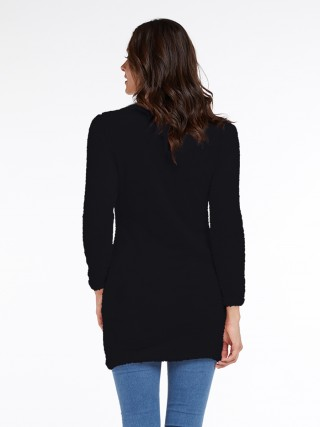 Slim Black Full Sleeve Sweater Dress High Collar Comfort Fit