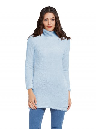Gorgeously Blue Mini Length Sweater Dress Long Sleeve Comfort