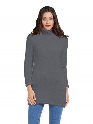 Marvellous Dark Gray Long Sleeve Solid Color Sweater Dress Shop Online