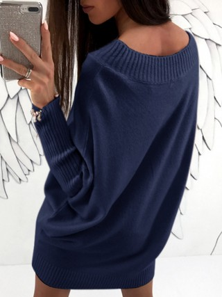 Extraordinary Sapphire Blue Knit Sweater Long Sleeves Dress Plain Adult