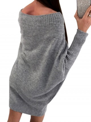 Slim Gray Plain Mini Sweater Dress Long Sleeves Womens Online Shopping