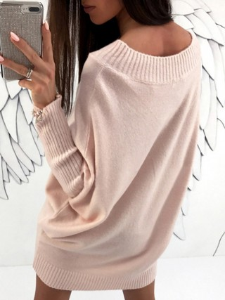 Faddish Light Pink Mini Length Sweater Dress Crew Neck All-Match Fashion