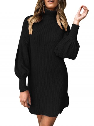 Premium Black Sweater Dress Solid Color Full Sleeve Forward Women